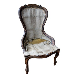Italian Carved Chair Frame Covered in Hessian Scrim For Sale