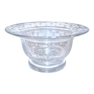 Mid Century Murano Art Glass Clear Bullicante Fruit Bowl For Sale