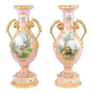 19th Century Gilt Porcelain Decorative Urns / Vases - a Pair For Sale