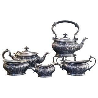 Cheltenham Sheffield Silver Plate English Tea Service - Set of 5 For Sale