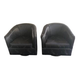 Vintage Swivel Lounge Chairs in the Style of Milo Baughman - a Pair For Sale