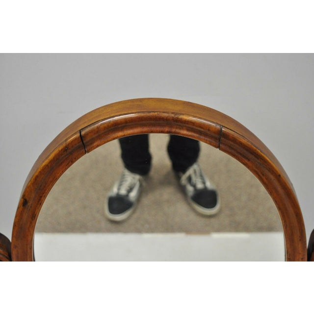 Wood Antique Cheval Style Walnut Oval Mirror Lift Top Shaving Vanity Mirror For Sale - Image 7 of 12
