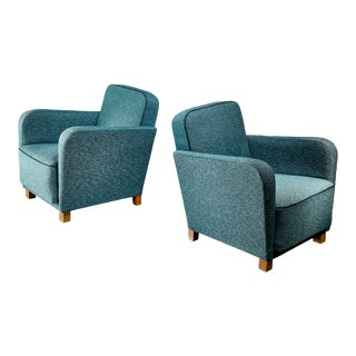 Pair of Danish Turquoise Green Easy Chairs, 1940s For Sale