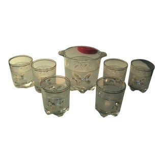Vintage Mid Century Lowball Rocks Cocktail Glasses + Ice Bucket, Signed Decover Italy - Set of 7 For Sale