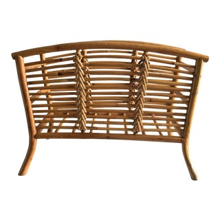 Vintage Boho Chic Rattan Magazine Holder For Sale