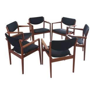 1960's Vintage Finn Juhl for France & Son Model 196 Danish Dining Chairs- Set of 6 For Sale
