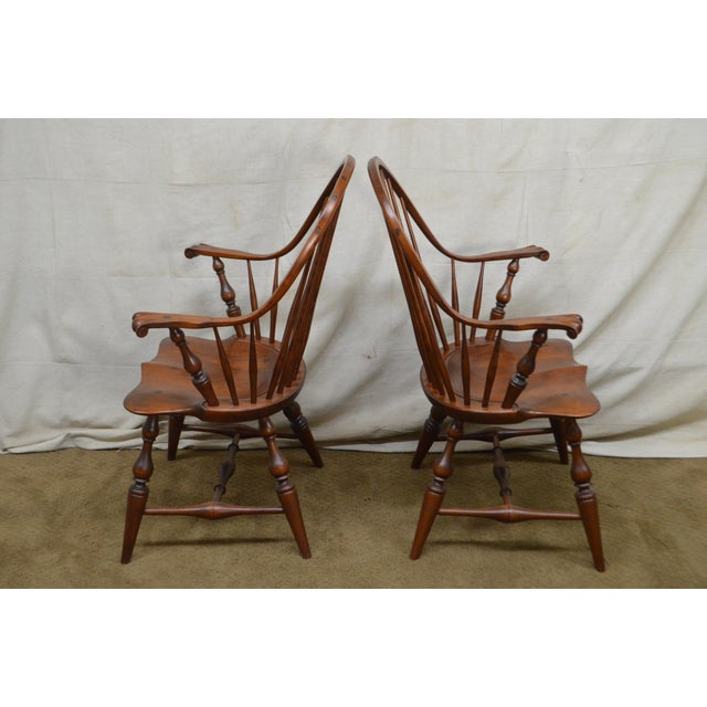 Cherry Wood Custom Quality Pair of Solid Cherry Windsor Armchairs For Sale - Image 7 of 13