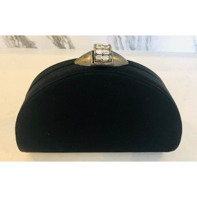 Rodo Black Silk Crystallized Clutch With Gunmetal Hardware For Sale - Image 11 of 11