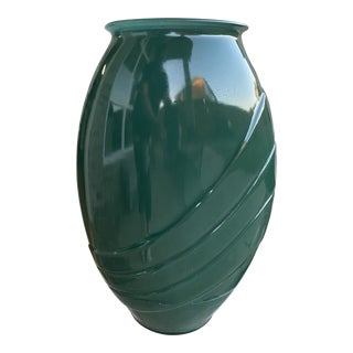Vintage 1980s Large Pleated Glass Vase For Sale