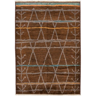 21st Century Modern Abstract Moroccan Style Rug 6 X 9 For Sale