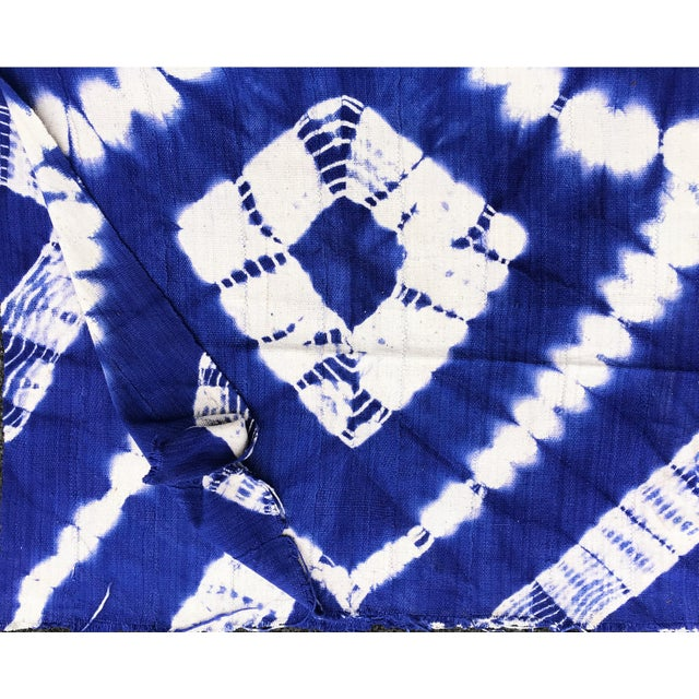 "1970s African Bogolan Textile Mud Cloth Blue & White 40"" by 62 For Sale - Image 5 of 8"