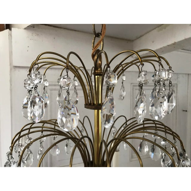 Shabby Chic Russian Baltic Crystal Layered Polished Brass Waterfall Chandelier For Sale - Image 3 of 11