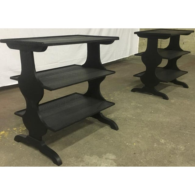 Oak Pair of Rare J.M.Frank Attributed Black 3 Tier Side Tables For Sale - Image 7 of 7