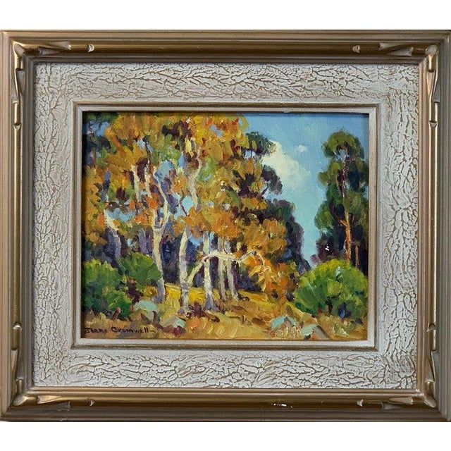 A small oil on board painting of Southern California Sycamores by noted Laguna Beach artist Joane Cromwell (1895-1969)....