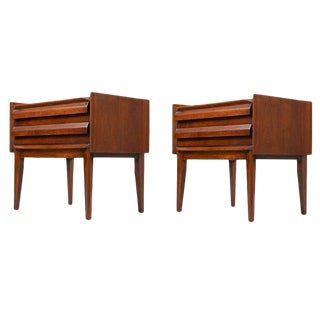 Mid-Century Modern Lane First Edition Walnut Nightstands - a Pair
