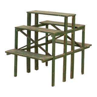 Antique Swedish Green Painted Flower Plant Stand For Sale