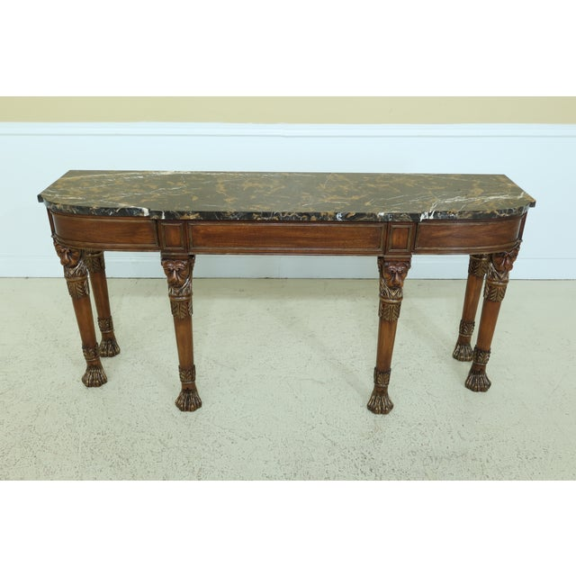 Henkel Harris Henkel Harris Lion Head Carved Mahogany Marble Top Console Table For Sale - Image 4 of 11