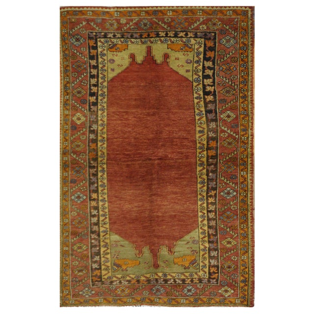 Vintage Turkish Oushak Rug - 4'5'' x 7'4'' For Sale