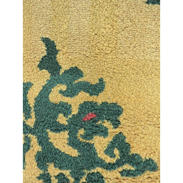 Gold And Green Soft Wool Medallion Floor Rug