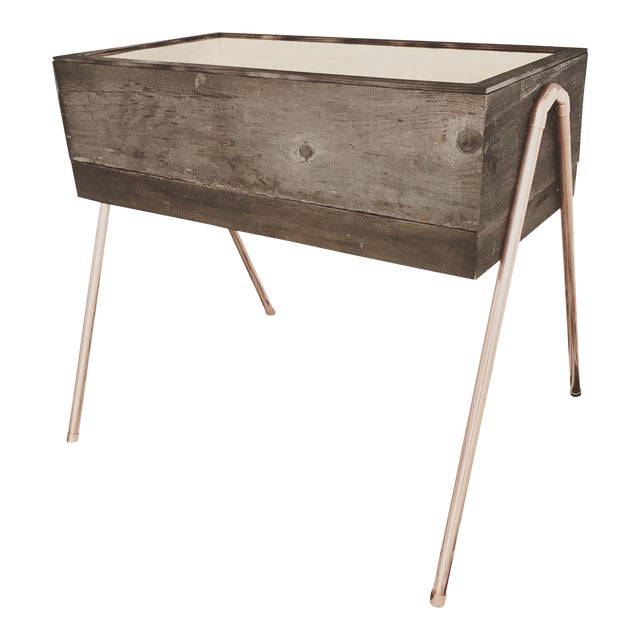 Reclaimed Wood & Copper Baby Bassinet - Image 1 of 5