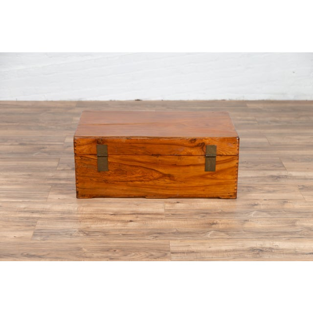 Antique Chinese Elmwood Blanket Chest With Round Brass Medallion Hardware For Sale - Image 12 of 13