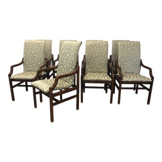 Late 20th Century 20th Century Henredon Dining Arm Chairs - Set of 8 For Sale