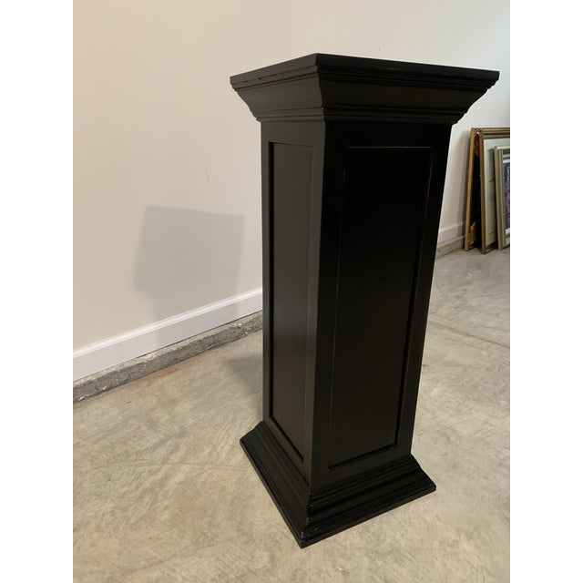 Vintage Squared Detailed Wood Rustic Black Plant Stand Column Pedestal With Widened Ends For Sale - Image 4 of 6