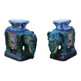 Pair Ceramic Handmade Chinese Green Blue Oriental Elephant Figures For Sale