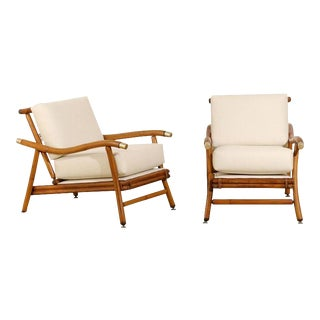Restored Pair of Campaign Lounge Chairs by John Wisner for Ficks Reed For Sale