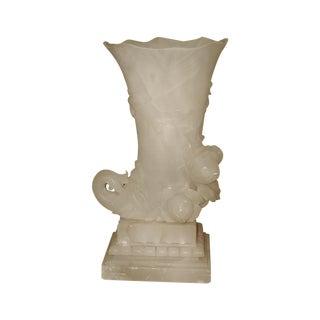Alabaster Cornucopia Vase C.1900 For Sale