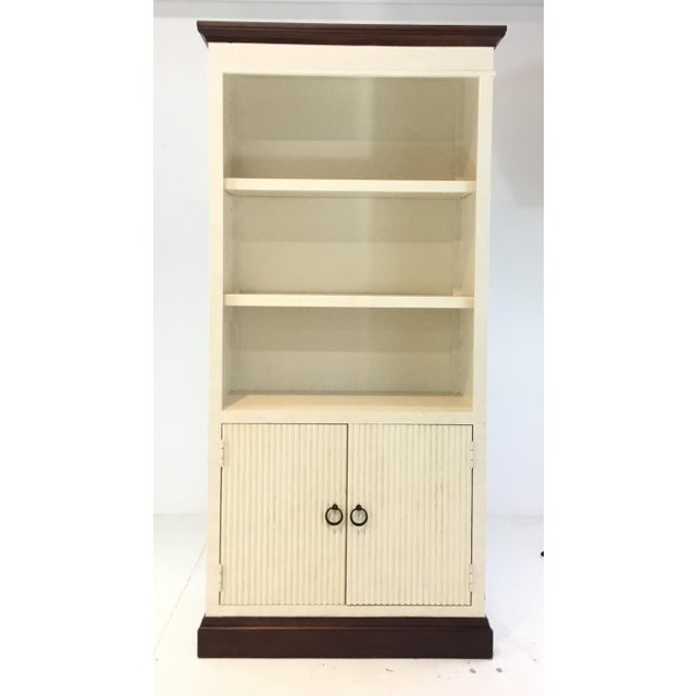 Metal Transitional Tall Two Door White Textured Wood Cabinet/Bookcase For Sale - Image 7 of 7