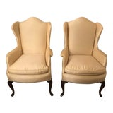 Image of Kindel Wing Back Queen Anne Chairs- a Pair For Sale