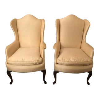 Kindel Wing Back Queen Anne Chairs- a Pair For Sale