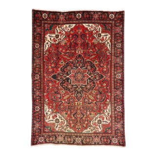 Vintage Persian Heriz Rug with Mid-Century Modern Style