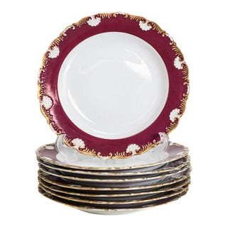 Circa 1900 Meissen Porcelain Scallop Rimmed Dinner Plates - Set of 8