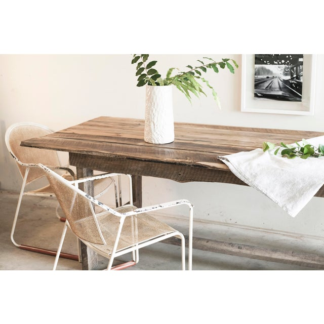 Custom French Farmhouse Dining Table of Reclaimed Barn Wood. For Sale - Image 9 of 10