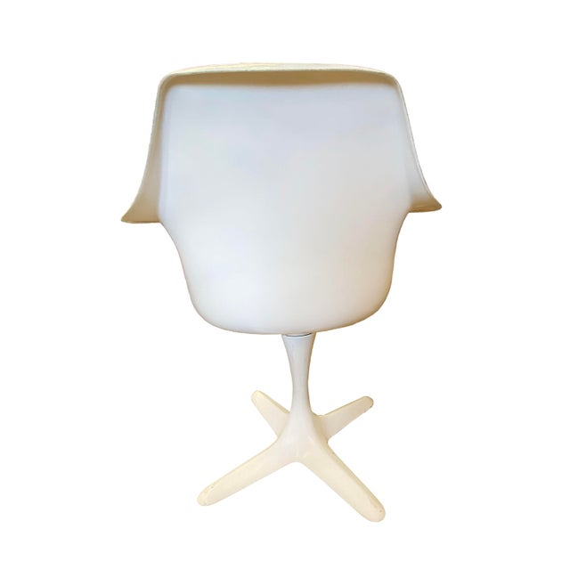 Vintage Burke Model 116 White Fiberglass Swivel Dining Chairs - Set of 4 For Sale In Wichita - Image 6 of 7