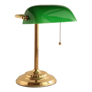 Banker's Lamp in Brass and Emerald Green For Sale