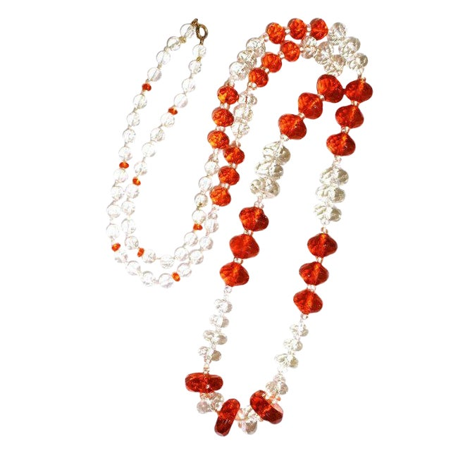 1930s Deco-Era Orange Faceted Glass Long Necklace For Sale