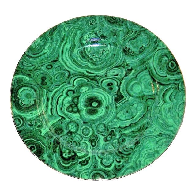 Vintage Neiman Marcus Emerald Green Malachite Serving Plate For Sale