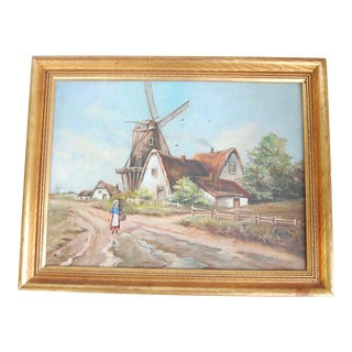 1930s Vintage Dutch Countryside Painting For Sale