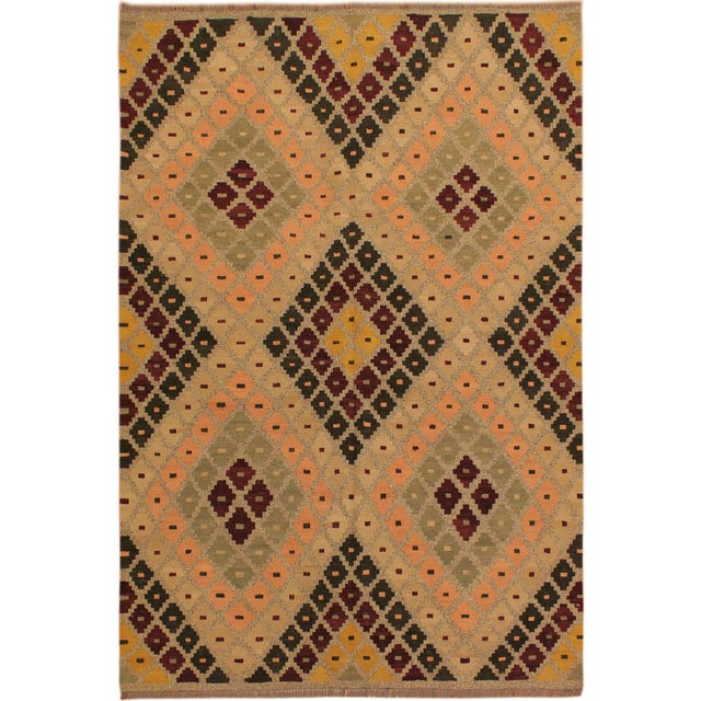 Orange Raymon Gray/Black Hand-Woven Kilim Wool Rug -5'4 X 6'8 For Sale - Image 8 of 8