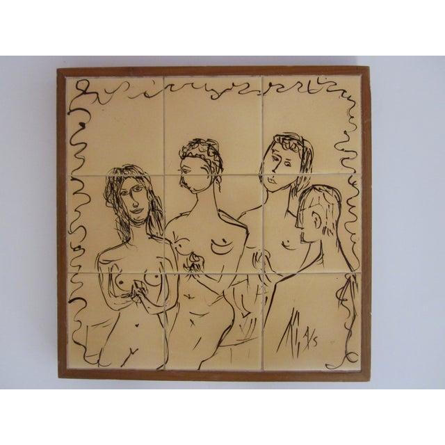 Painted Modernist Nine Tile Signed by Artist Nude - Image 2 of 4
