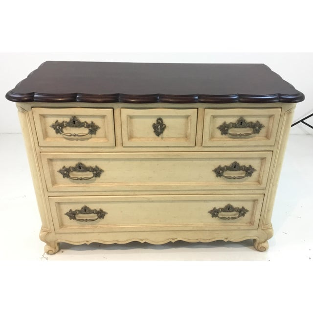 Elegant French country style cream normandy chest by: Hickory Chair, warm walnut finished wood top, five drawers with...