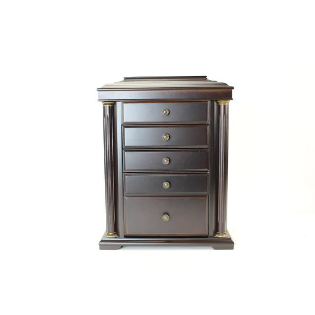 1990s Neoclassical Bombay Co. Walnut Jewelry Chest For Sale - Image 4 of 10