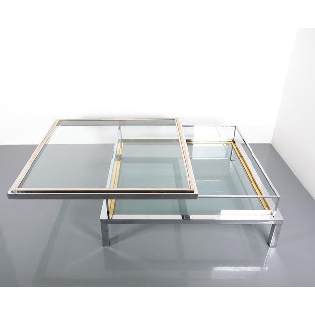 French Refurbished Large Maison Jansen Brass and Chrome Vitrine Coffee Table, 1970 For Sale - Image 3 of 12