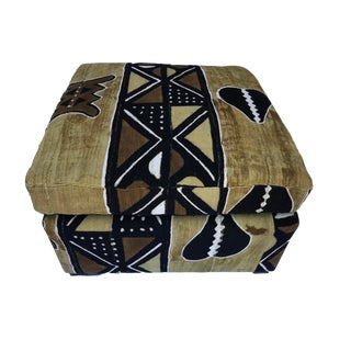 Custom Made Ottoman with Brown/Mustard/Black/White Mud Cloth For Sale