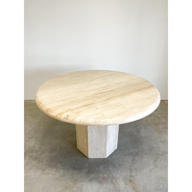 Afra & Tobia Scarpa Vintage Postmodern Travertine Marble Round Dining Table For Sale - Image 4 of 12