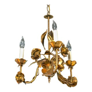 1950s Italian Gilt Iron Floral Chandelier For Sale