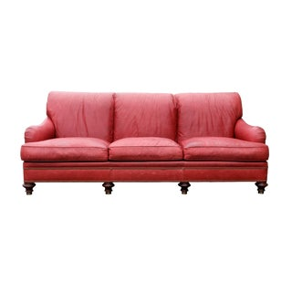 Oxblood Red Leather Sofa by Hickory Chair Company For Sale